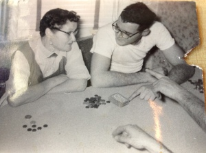 My father and his mother (who cheated at cards), circa 1945.